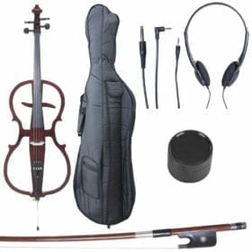 Cecilio 4/4 CECO-1DW Mahogany Metallic Electric Cello with Ebony Fittings in Style 1 (Full Size) 3