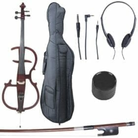 Cecilio 4/4 CECO-2DW Mahogany Metallic Electric Cello with Ebony Fittings in Style 2 (Full Size) 4