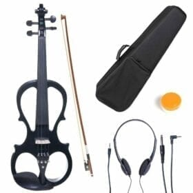 Cecilio 4/4 CEVN-1BK Solid Wood Electric/Silent Violin with Ebony Fittings in Style 1 - Full Size - Black Metallic 1