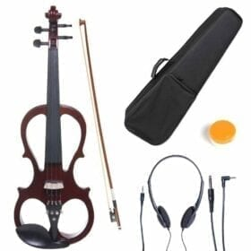 Cecilio 4/4 CEVN-1NA Solid Wood Mahogany Metallic Electric / Silent Violin with Ebony Fittings in Style 1 (Full Size) 2