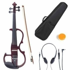 Cecilio 4/4 CEVN-2NA Solid Wood Mahogany Metallic Electric / Silent Violin with Ebony Fittings in Style 2 (Full Size) 4