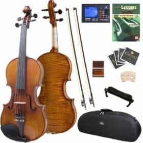 Cecilio 4/4 CVN-700 Highly Flamed 1-Piece Back Ebony Fitted Professional Solid Wood Violin 5