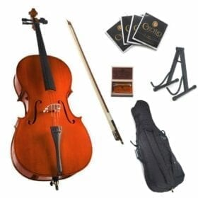 Cecilio CCO-100 Student Cello with Soft Case, Stand, Bow, Rosin, Bridge and Extra Set of Strings, Size 3/4 6