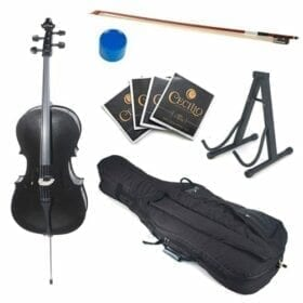 Cecilio CCO-Black Student Cello with Soft Case, Stand, Bow, Rosin, Bridge and Extra Set of Strings, Size 4/4 (Full Size) 8