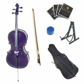 Cecilio CCO-Purple Student Cello with Soft Case, Stand, Bow, Rosin, Bridge and Extra Set of Strings, Size 4/4 (Full Size) 9