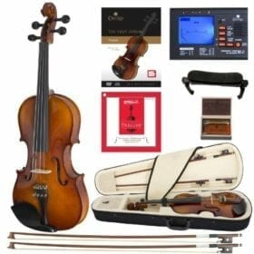 Cecilio CVN-300 Solidwood Ebony Fitted Violin with D'Addario Prelude Strings, Size 4/4 (Full Size) 8